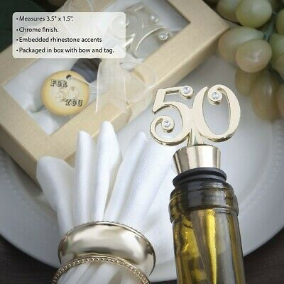 12 Gold 50th Birthday Party & 50th Anniversary Wine Bottle Stopper Party Favors