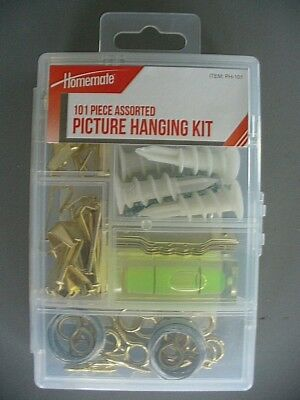 101 Pc. Homemate Picture Hanging Kit- Hangers, Wire, Eyes, Nails, Screws NEW