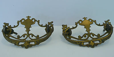 Pair Victorian Cast Brass Bail Pulls Furniture, Cabinet, Drawer Pulls