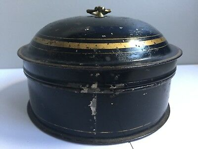 Antique Regency Toleware Round Spice Box Tin Made In England circa 1800