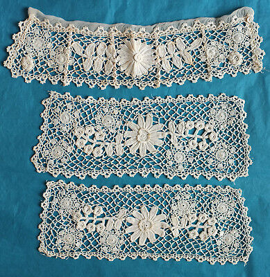 Antique Irish crochet lace boned stand collar and cuffs.