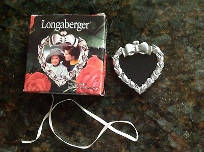 Longaberger Pewter Heart Trim Tie On Picture Frame Basket Accessory