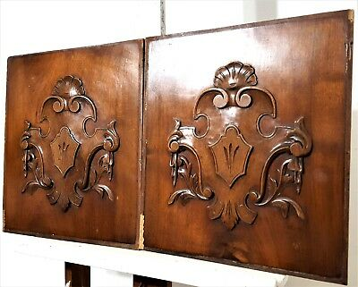 Pair Hand Carved Wood Panel Antique French Coat Of Arms Architectural Salvage