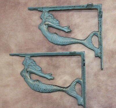 "(2), Antique-Style Bronze-look Mermaid Corbels, Solid Cast Iron, 7 1/8"", B-49b"