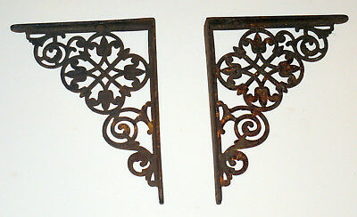 "VINTAGE  ANTIQUE ORNATE PAIR CAST IRON STEEL SHELF BRACKETS OLD 6"" x8"""