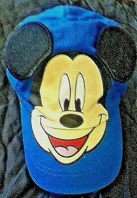 Mickey Mouse Disney World Baseball Cap Hat Mickey Face Blue Yellow YOUTH Free Sp