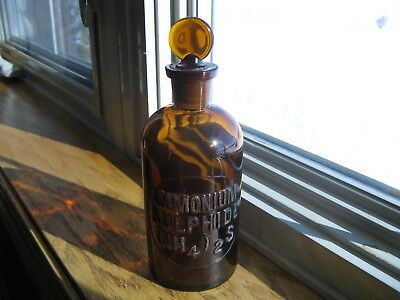 Vintage AMMONIUM SULPHIDE Pharmacy Lab Apothecary Science Glass Bottle Amber Top