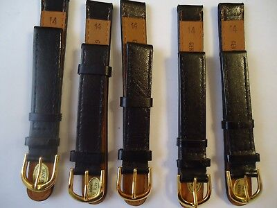 LOT OF 5 PCS Genuine Black Leather Watch Bands 14mm New Old Stock Lot# C72