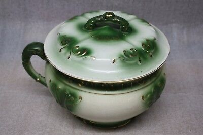 Antique Green, White & Gold Chamber Pot with Handle and Lid