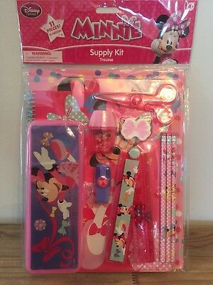 NEW Minnie Mouse School Supply Kit NIP Pencil Case Ruler Disney Store 11 Pieces