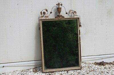 Antique French Mirror Wall Mirror Gilt Iron Floral Scroll Gesso Wood Frame Chipy