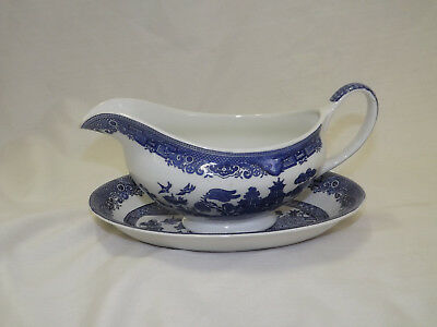 Vintage Johnson Brothers England Blue Willow Gravy Boat with Liner Plate