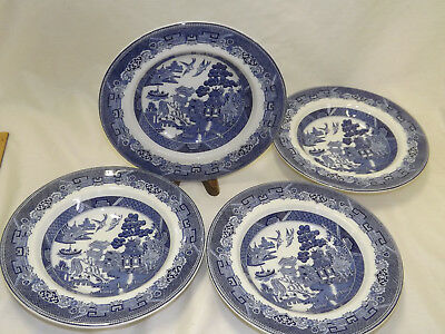 Vintage Johnson Brothers England Blue Willow 4 Rimmed Soup Bowls
