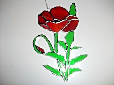 Stained Glass handmade bright red poppy rose Sun-catcher