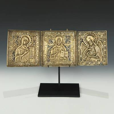 Antique Russian Old Believers Icon 3 Leaf Bronze Enamel Jesus Mary John 18Th C