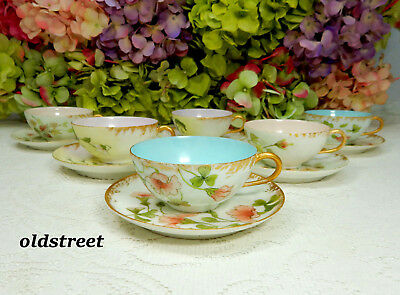 6 Beautiful Antique Limoges Porcelain Hand Painted Artist Signed Cups & Saucers