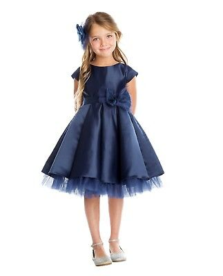Flower Girls Navy Blue Satin Tulle Pleated Dress Wedding Easter Christmas 711