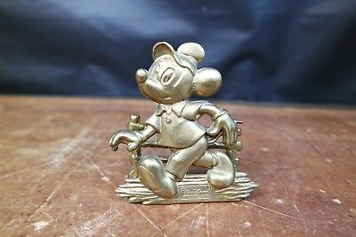 Vintage Walt Disney Production Brass Mickey Mouse Messing Briefhalter Selten