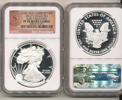 2012-S NGC PF70 EARLY RELEASES Ultra Cameo Coin and Currency Set Silver Eagle