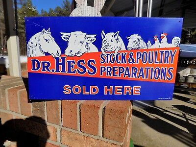 Dr. Hess Stock & Poultry Metal Sign Graphics Farm Cow Pig Horse Chicken Sheep