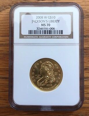 2008-W Jacksons Liberty $10 NGC MS70 First Spouse .999 Gold