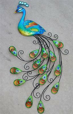"""Peacock Wall Hanging Wall Art Large 3D Metal Blue Peacock 36"""" Sculpture New"""