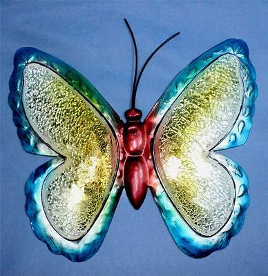 Butterfly Wall Hanging Art Decor LRI Blue Metal & Stained Glass Glitter New