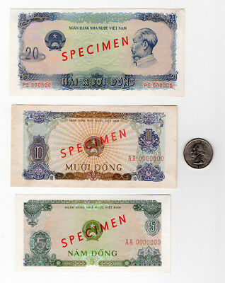 "5 Vietnam ""Specimen"" banknotes. 3 are uncirculated"