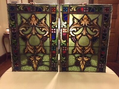 2 ANTIQUE PAINTED AND FIRED STAINED GLASS - 2 separate pieces