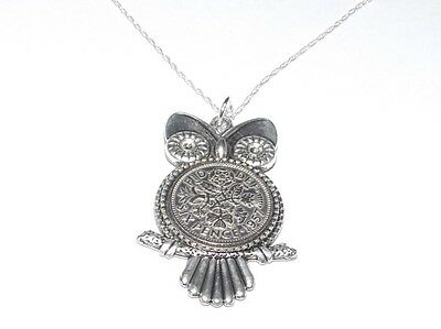 1958 61st Birthday Sixpence Owl  Pendant for Gift boxed with 20 inch SS Chain