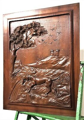 Hand Carved Wood Panel Vintage French Dog Hunting Scene Architectural Salvage