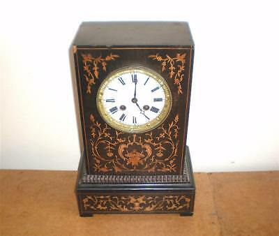 Rare Antique Marquetry Inlaid 8 Day Mantle Clock Signed 'LEROY A PARIS' c1850