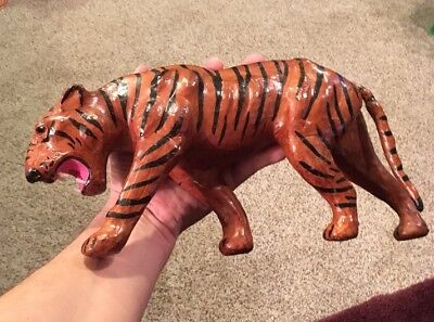 COOL BENGAL TIGER Vintage Leather wrapped Statue Art with Glass Eyes