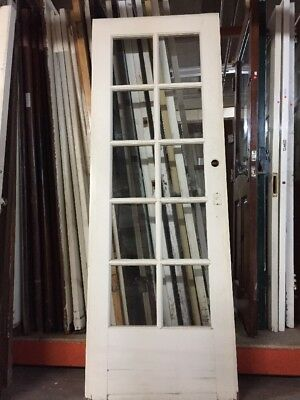 "French Door 10 Light 78""x28 Tempered Glass single door"