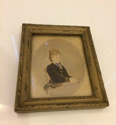 Antique miniature portrait, Georgian Or Early Victorian In Guilt Frame