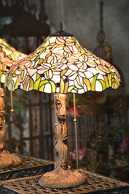 Large Tiffany Style Art Stained Glass Lamp Flowers And Jewels Shade