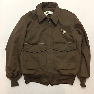 UNITED PARCEL SERVICE UPS BROWN REFLECTIVE FULL zip Jacket Sz 42-44 Lg USA 1839