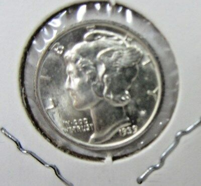 1937-D Mercury Dime - Nice Unc With Full Bands - Bbin