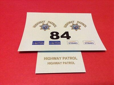 CALIFORNIA HIGHWAY PATROL 1/24 - 1/25 Scale Police Decals - CHIPS