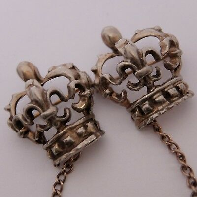 Vintage Gold Washed Sterling Silver Fleur De Lis Crown Double Pin Brooch