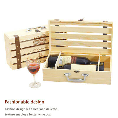 Wooden Dual Wine Box Space Bottle Carrier Case Christmas Xmas Birthday Presents