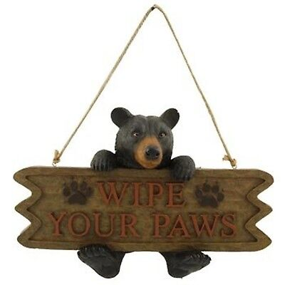 Black Bear Welcome Sign (Wipe Your Paws) New