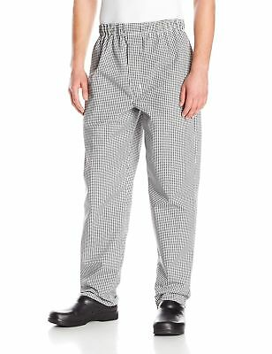 Chef Designs Men's Baggy Chef PantWith Zipper Fly Black/White Check Small New