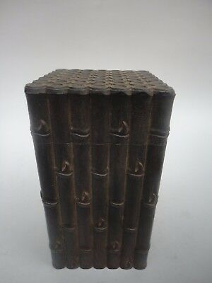 Collected Ancient China Redwood Hand Carved Bamboo Auspicious Tea Box Decoration