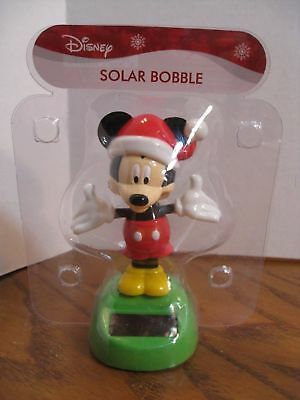 Disney Holiday Christmas Mickey Mouse Solar Bobble Head Table Top Dashboard