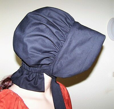 LADIES WOMENS BONNET COSTUME,THEATER,CIVIL WAR 100% COTTON solid black