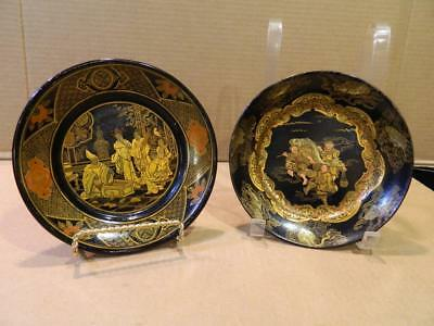 2 Different Hand Painted Black & Gold Lacquered Paper Mache Plates Antique [b]