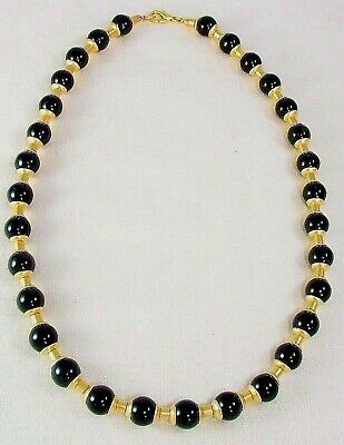 """Egyptian Black Onyx Capped Necklace 20"""" & Matching Earring Set Museum Collection"""