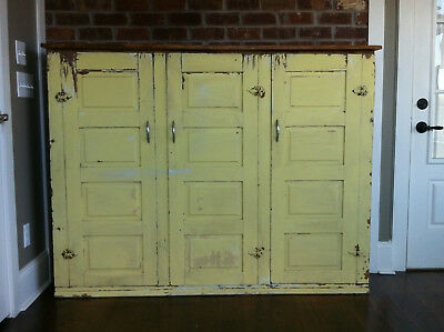 Vintage Antique Large 3 Door Wood Cabinet Shabby Chic 1920 Chippy Yellow Storage
