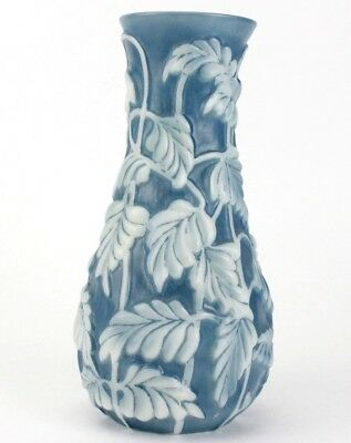 Antique Phoenix Consolidated Philodendron Blue White Cased Art Glass Vase NR BNF
